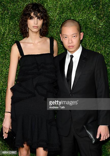Model Mica Arganaraz and designer Jason Wu attend the 12th annual CFDA/Vogue Fashion Fund Awards at Spring Studios on November 2 2015 in New York City