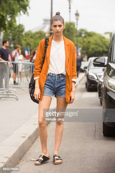 Model Mica Arganaraz exits the Chanel show at Grand Palais on July 7 2015 in Paris France