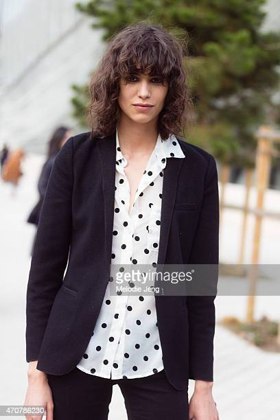 Model Mica Arganaraz exits the Louis Vuitton show at Fondation Louis Vuitton on Day 9 of Paris Fashion Week FW15 on March 11 2015 in Paris France