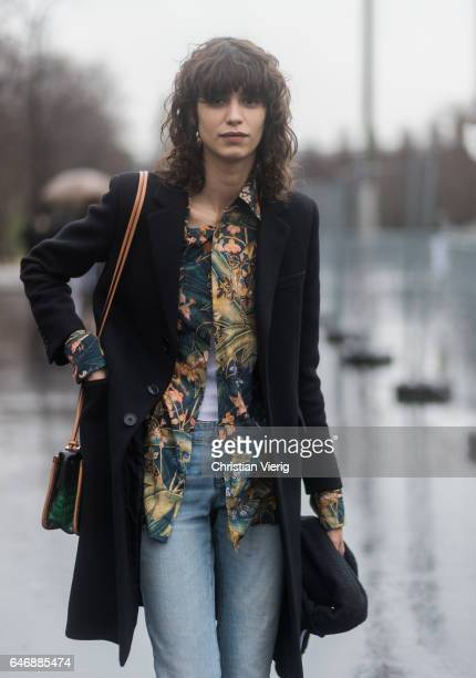 Model Mica Arganaraz outside Dries Van Noten on March 1 2017 in Paris France