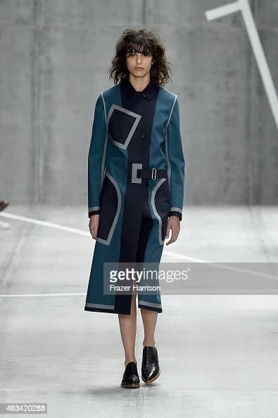 Model Mica Arganaraz walks the runway at the Lacoste fashion show during MercedesBenz Fashion Week Fall 2015 at The Theatre at Lincoln Center on...