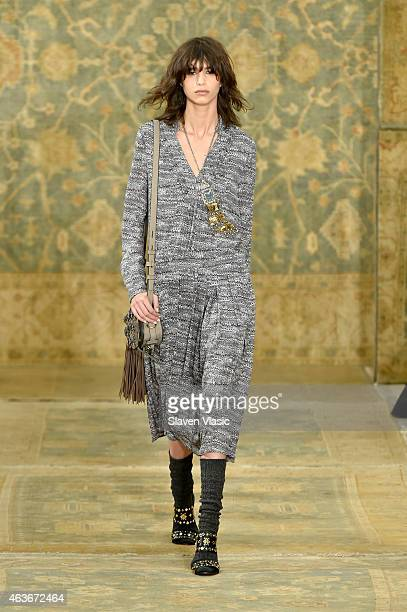 Model Mica Arganaraz walks the runway at the Tory Burch fashion show during MercedesBenz Fashion Week Fall 2015 at 583 Park Avenue on February 17...