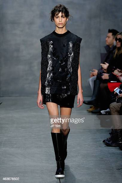 A model Mica Arganaraz walks the runway at the Vera Wang fashion show during MercedesBenz Fashion Week Fall 2015 on February 17 2015 in New York City