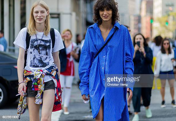 Model Mica Arganarazoutside Lacoste on September 10 2016 in New York City