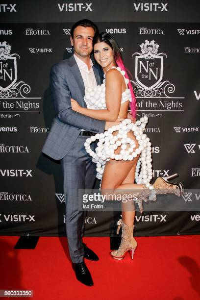 Model Micaela Schaefer and her boyfriend Felix Steiner attend the 'Nights of The Nights' event at Amano Grand Central on October 11 2017 in Berlin...