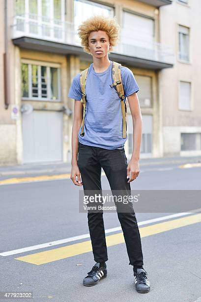Model Michael Cackley poses on June 20 2015 in Milan Italy