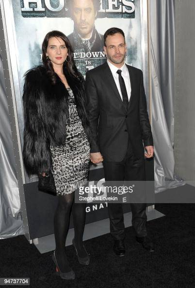 Model Michelle Hicks and actor Jonny Lee Miller attend the New York premiere of 'Sherlock Holmes' at the Alice Tully Hall Lincoln Center on December...