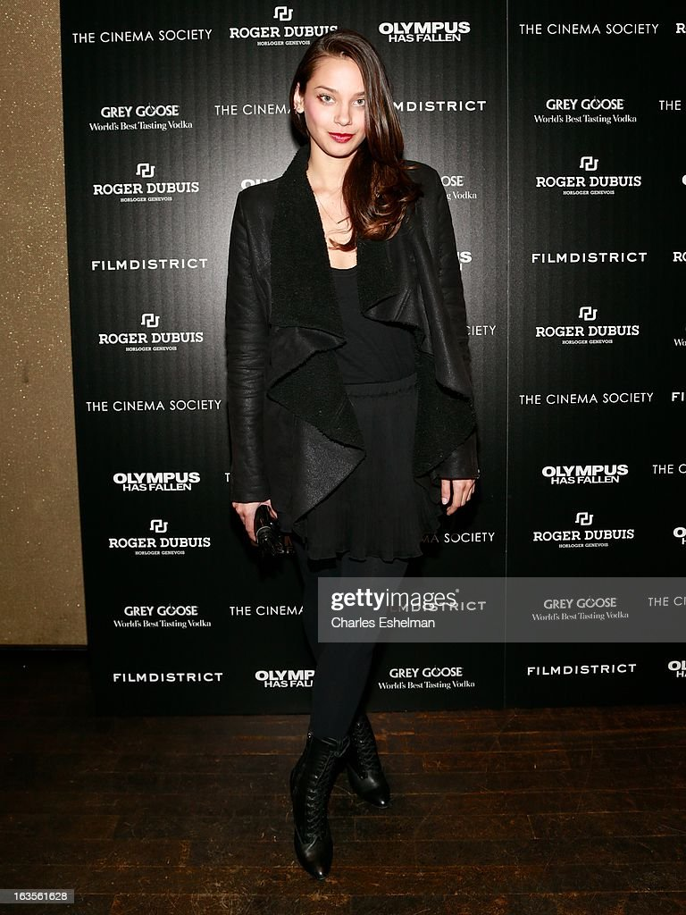 Model Michelle Vawer attends The Cinema Society with Roger Dubuis and Grey Goose screening of FilmDistrict's 'Olympus Has Fallen' at the Tribeca Grand Screening Room on March 11, 2013 in New York City.