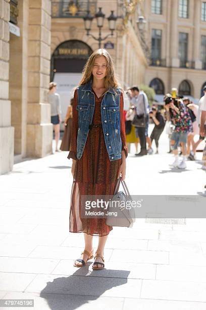 Model Milana Kruz exits the Schiaparelli show on July 6 2015 in Paris France