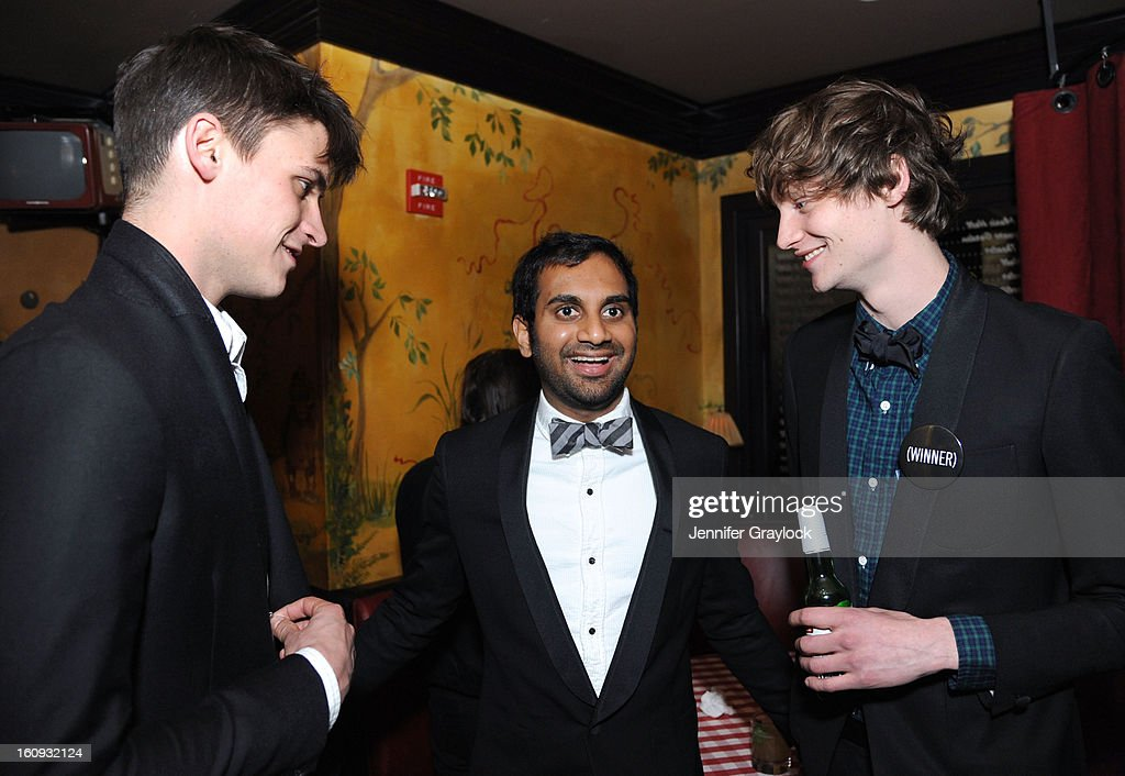 Model Miles Garber, Actor <a gi-track='captionPersonalityLinkClicked' href=/galleries/search?phrase=Aziz+Ansari&family=editorial&specificpeople=4266146 ng-click='$event.stopPropagation()'>Aziz Ansari</a> and Model Matt Hitt attend the Band Of Outsiders Fashion Week Mens Collection After Party held at the Monkey Bar on February 7, 2013 in New York City.