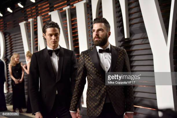 Model Miles McMillan and actor Zachary Quinto attend the 2017 Vanity Fair Oscar Party hosted by Graydon Carter at Wallis Annenberg Center for the...