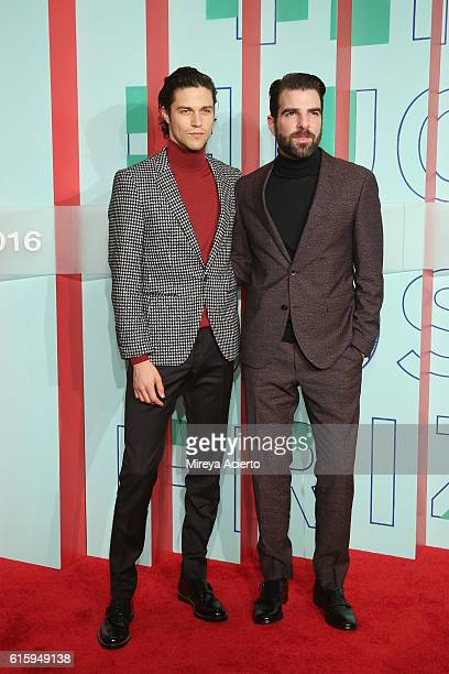 Model Miles McMillan and actor Zachary Quinto attend The Hugo Boss Prize 2016 at Solomon R Guggenheim Museum on October 20 2016 in New York City