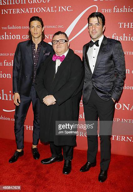 Model Miles McMillan designer/honoree Alber Elbaz and actor Zachary Quinto attend the 2015 Fashion Group International's Night of Stars at Cipriani...