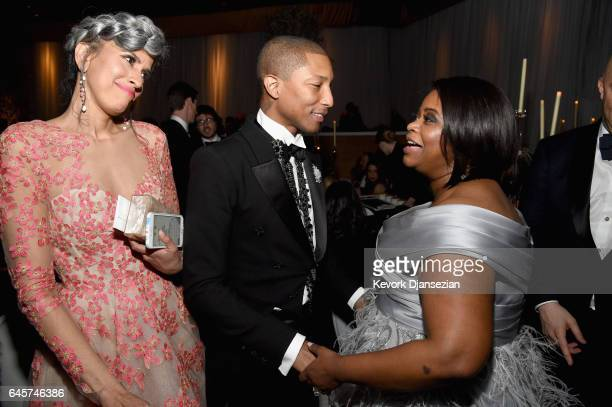 Model Helen Lasichanh Musician Pharell Williams and Actor Octavia Spencer attend the 89th Annual Academy Awards Governors Ball at Hollywood Highland...
