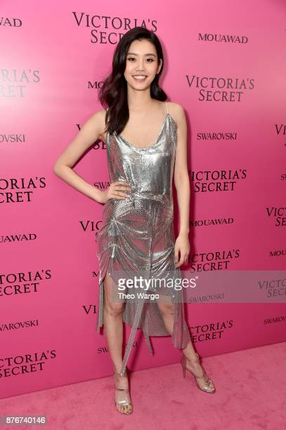 Model Ming Xi attends the 2017 Victoria's Secret Fashion Show In Shanghai After Party at MercedesBenz Arena on November 20 2017 in Shanghai China