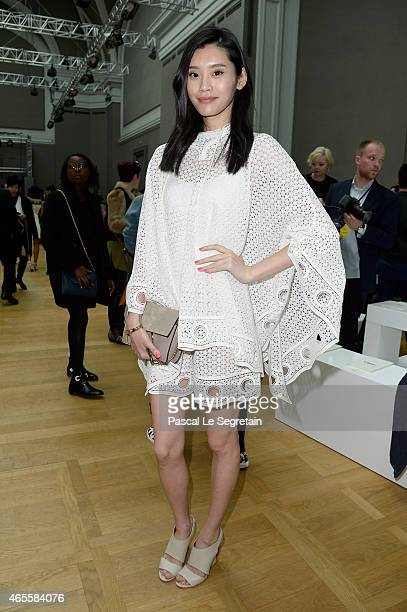 Model Ming Xi attends the Chloe show as part of the Paris Fashion Week Womenswear Fall/Winter 2015/2016 on March 8 2015 in Paris France