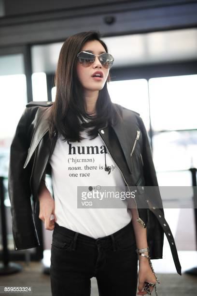 Model Ming Xi Mengyao is seen at Shanghai Hongqiao International Airport on October 9 in Shanghai China