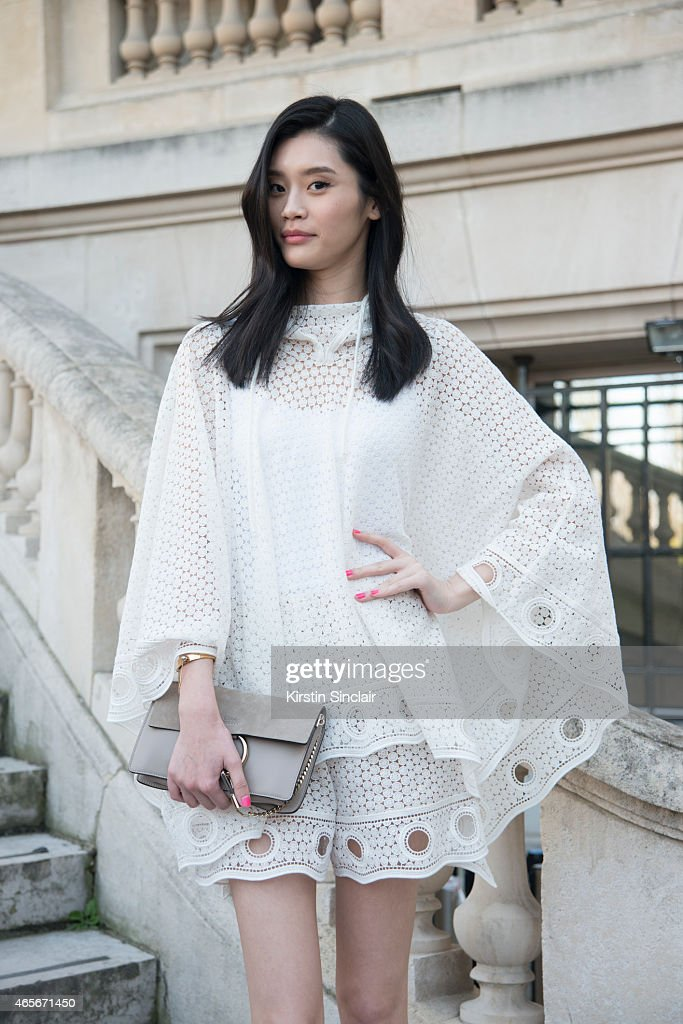 Model Ming Xi wears all Chloe at the Chloe show on day 6 of Paris Collections Women on March 08 2015 in Paris France