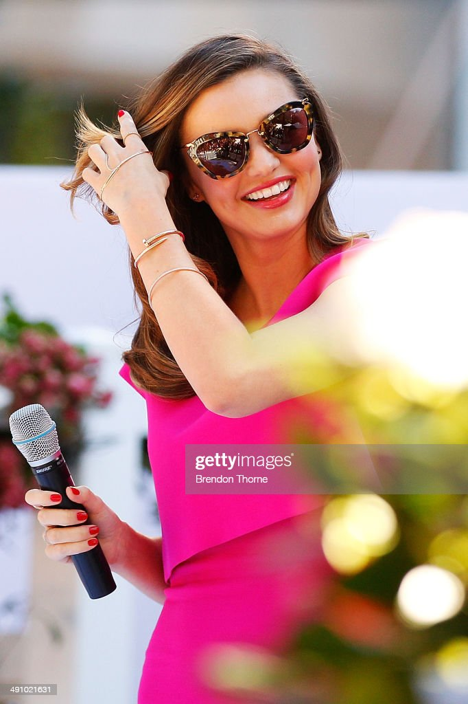 Model <a gi-track='captionPersonalityLinkClicked' href=/galleries/search?phrase=Miranda+Kerr&family=editorial&specificpeople=5714330 ng-click='$event.stopPropagation()'>Miranda Kerr</a> addresses guests during a public appearance to discuss her Royal Albert teaware range on May 16, 2014 in Sydney, Australia.