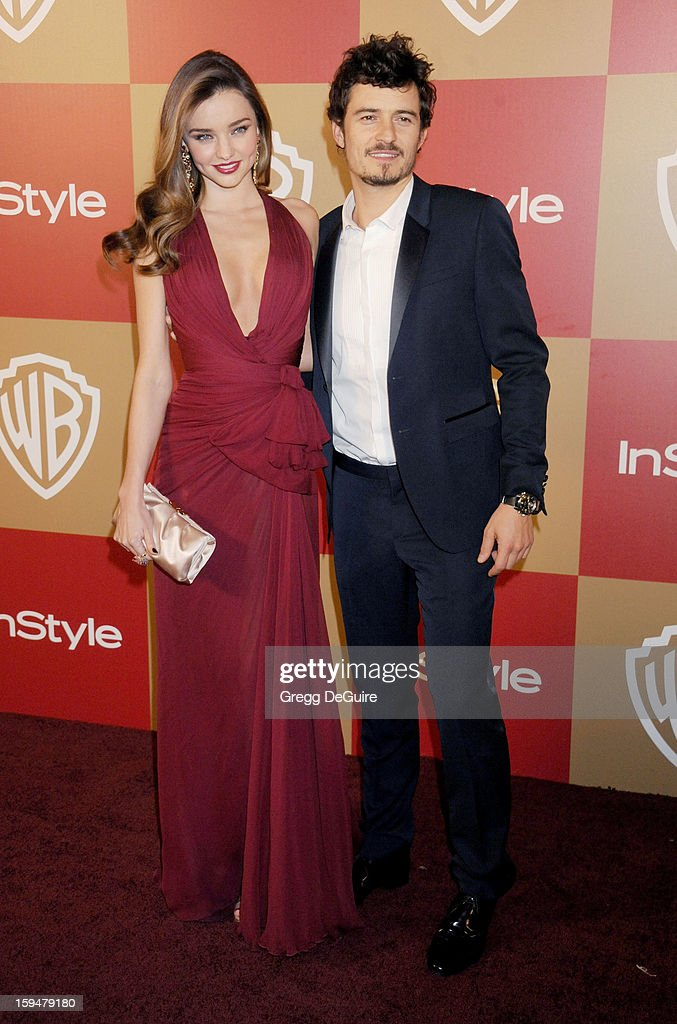 Model Miranda Kerr and actor Orlando Bloom arrive at the InStyle and Warner Bros. Golden Globe party at The Beverly Hilton Hotel on January 13, 2013 in Beverly Hills, California.