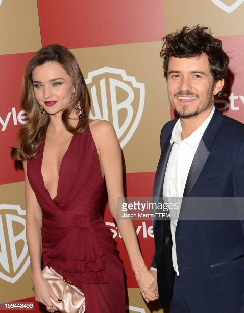 Model Miranda Kerr and actor Orlando Bloom attend the 14th Annual Warner Bros And InStyle Golden Globe Awards After Party held at the Oasis Courtyard...