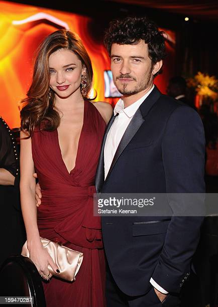 Model Miranda Kerr and actor Orlando Bloom attend the 2013 InStyle and Warner Bros 70th Annual Golden Globe Awards PostParty held at the Oasis...