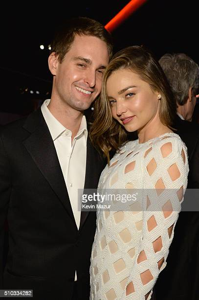 Model Miranda Kerr and entrepreneur Evan Spiegel attend the 2016 PreGRAMMY Gala and Salute to Industry Icons honoring Irving Azoff at The Beverly...