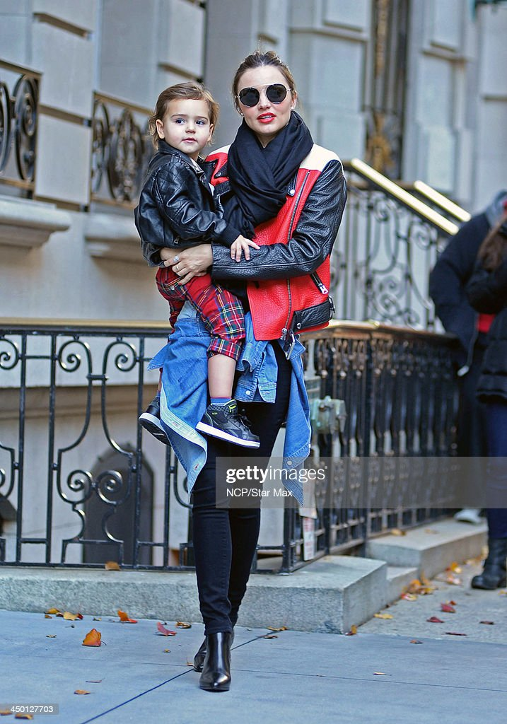 Model <a gi-track='captionPersonalityLinkClicked' href=/galleries/search?phrase=Miranda+Kerr&family=editorial&specificpeople=5714330 ng-click='$event.stopPropagation()'>Miranda Kerr</a> (R) and <a gi-track='captionPersonalityLinkClicked' href=/galleries/search?phrase=Flynn+Bloom&family=editorial&specificpeople=8325201 ng-click='$event.stopPropagation()'>Flynn Bloom</a> are seen on November 16, 2013 in New York City.