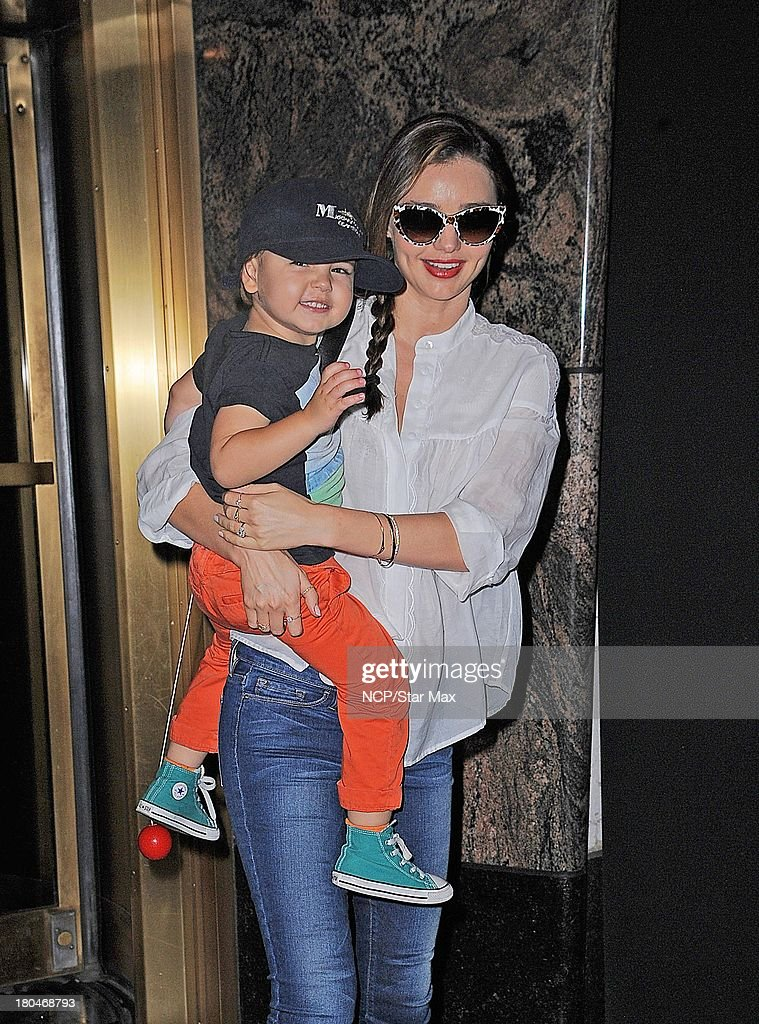 Model <a gi-track='captionPersonalityLinkClicked' href=/galleries/search?phrase=Miranda+Kerr&family=editorial&specificpeople=5714330 ng-click='$event.stopPropagation()'>Miranda Kerr</a> and <a gi-track='captionPersonalityLinkClicked' href=/galleries/search?phrase=Flynn+Bloom&family=editorial&specificpeople=8325201 ng-click='$event.stopPropagation()'>Flynn Bloom</a> are seen on September 12 2013 in New York City.