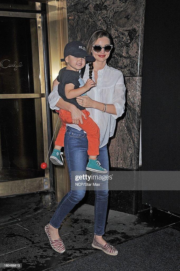 Model Miranda Kerr and Flynn Bloom are seen on September 12 2013 in New York City.
