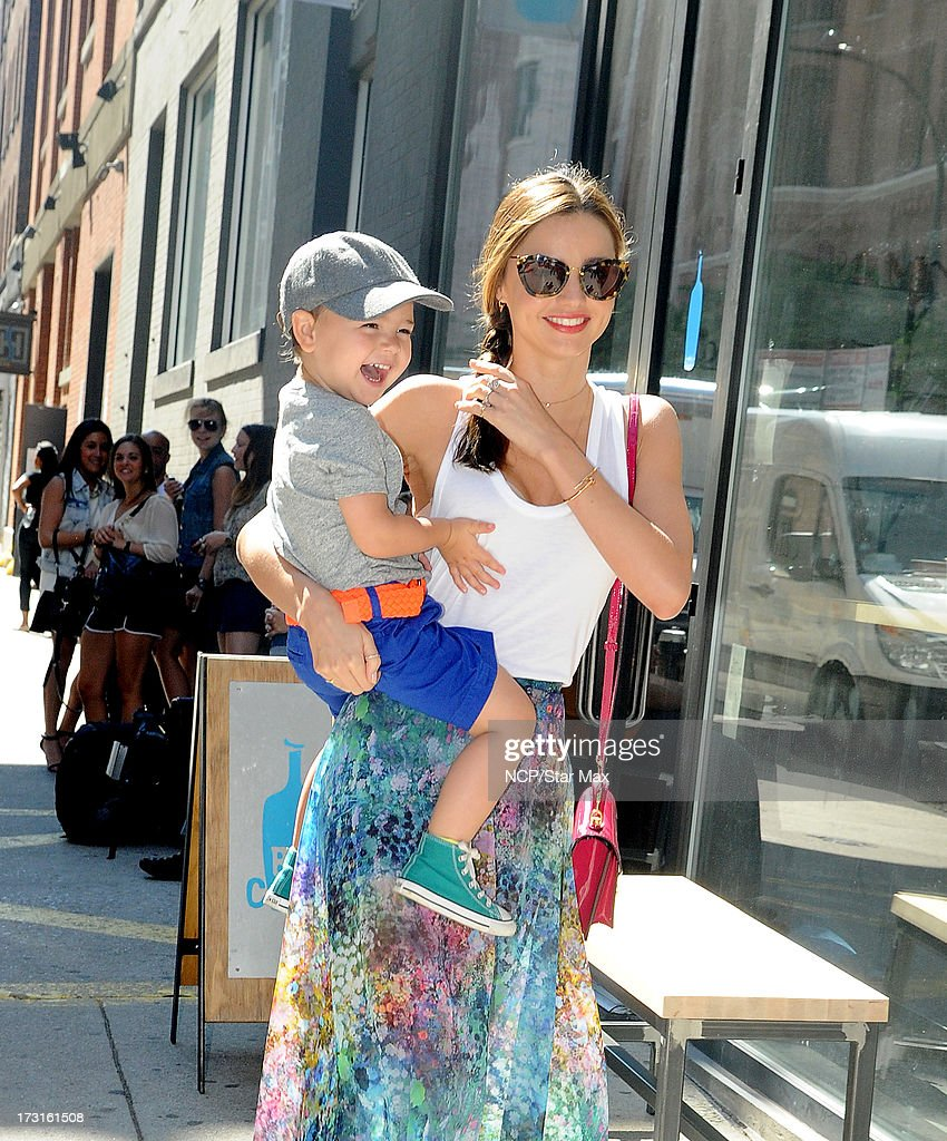 Model <a gi-track='captionPersonalityLinkClicked' href=/galleries/search?phrase=Miranda+Kerr&family=editorial&specificpeople=5714330 ng-click='$event.stopPropagation()'>Miranda Kerr</a> and <a gi-track='captionPersonalityLinkClicked' href=/galleries/search?phrase=Flynn+Bloom&family=editorial&specificpeople=8325201 ng-click='$event.stopPropagation()'>Flynn Bloom</a> as seen on July 8, 2013 in New York City.