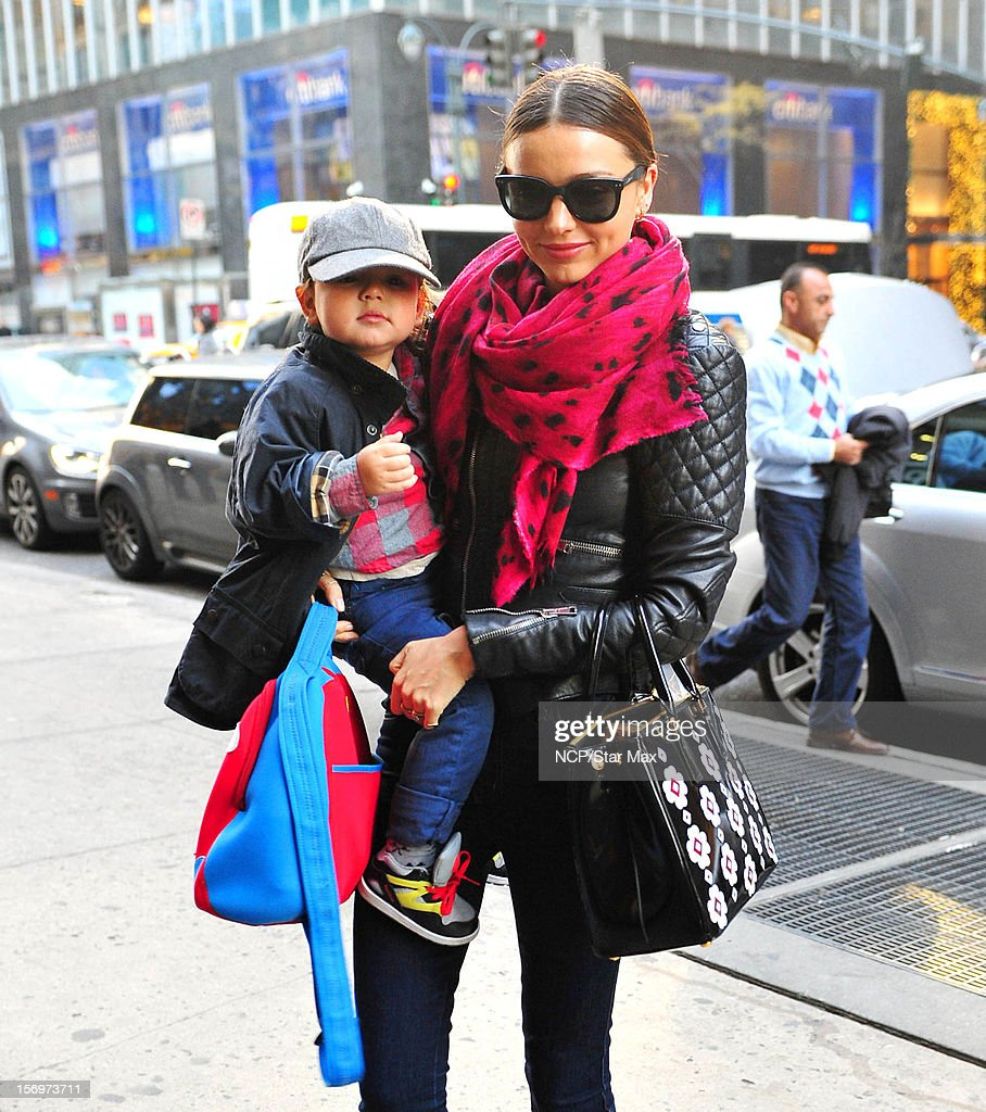 Model Miranda Kerr and Flynn Bloom as seen on November 26, 2012 in New York City.