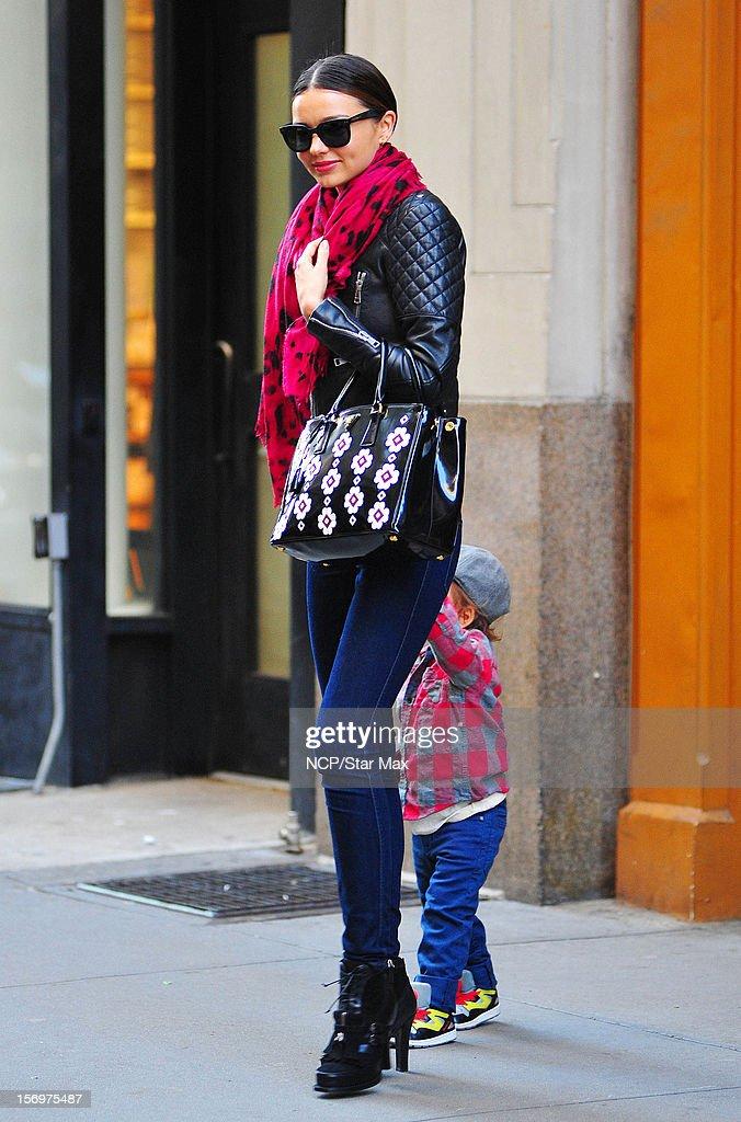 Model Miranda Kerr and Flynn Bloom as seen on November 26, 2012 in New York City.