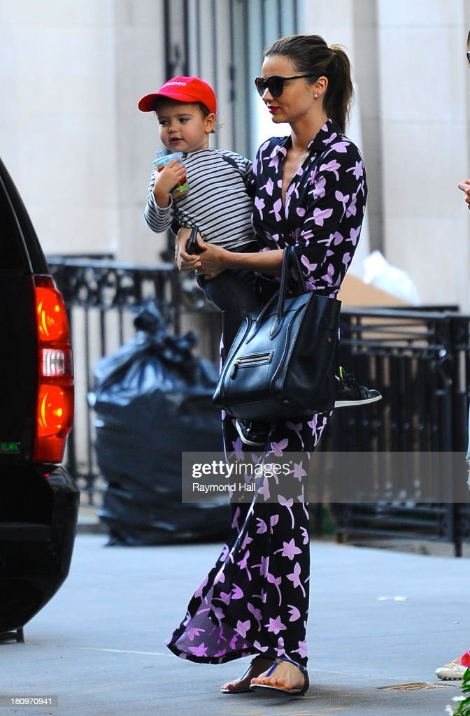Model Miranda Kerr and Flynn Bloom sighting on September 18, 2013 in New York City.