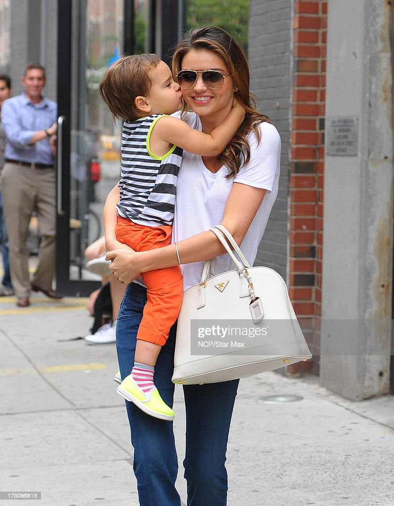 Model <a gi-track='captionPersonalityLinkClicked' href=/galleries/search?phrase=Miranda+Kerr&family=editorial&specificpeople=5714330 ng-click='$event.stopPropagation()'>Miranda Kerr</a> and her son <a gi-track='captionPersonalityLinkClicked' href=/galleries/search?phrase=Flynn+Bloom&family=editorial&specificpeople=8325201 ng-click='$event.stopPropagation()'>Flynn Bloom</a> as seen on July 31, 2013 in New York City.