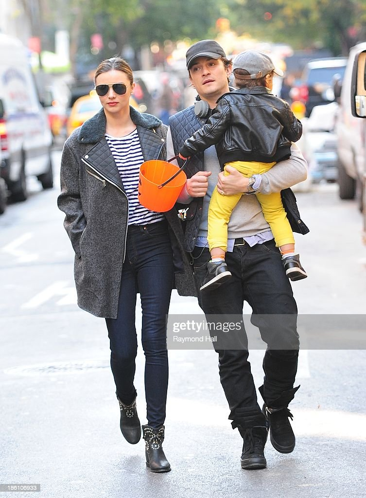 Model Miranda Kerr and Orlando Bloom with baby Flynn are seen together on Upper East Side in NYC on October 28, 2013 in New York City.