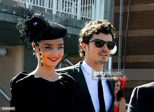 Model Miranda Kerr and partner/actor Orlando Bloom arrive at the David Jones Marquee on Emirates Doncaster Day at the Royal Randwick Racecourse on...