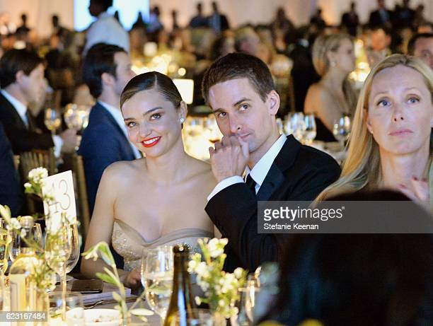 Model Miranda Kerr and Snapchat founder Evan Spiegel attend the Fifth Annual Baby2Baby Gala Presented By John Paul Mitchell Systems at 3LABS on...
