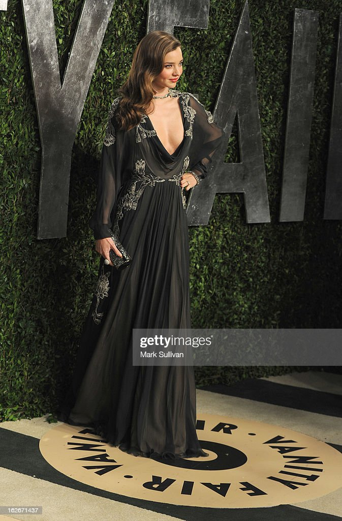 Model Miranda Kerr arrives at the 2013 Vanity Fair Oscar Party at Sunset Tower on February 24, 2013 in West Hollywood, California.