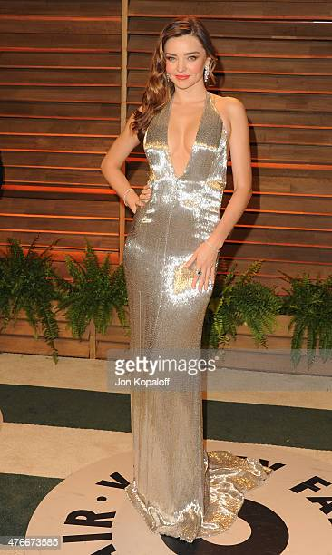 Model Miranda Kerr arrives at the 2014 Vanity Fair Oscar Party Hosted By Graydon Carter on March 3 2014 in West Hollywood California