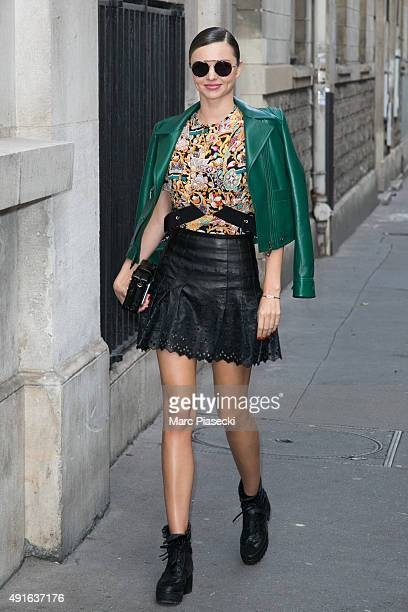 Model Miranda Kerr arrives at the 'ALAIA' office building on October 7 2015 in Paris France