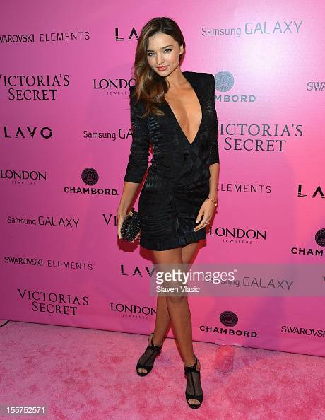 Model Miranda Kerr attends Samsung Galaxy features arrivals at the official Victoria's Secret fashion show after party on November 7 2012 in New York...