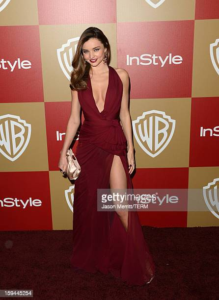 Model Miranda Kerr attends the 14th Annual Warner Bros And InStyle Golden Globe Awards After Party held at the Oasis Courtyard at the Beverly Hilton...