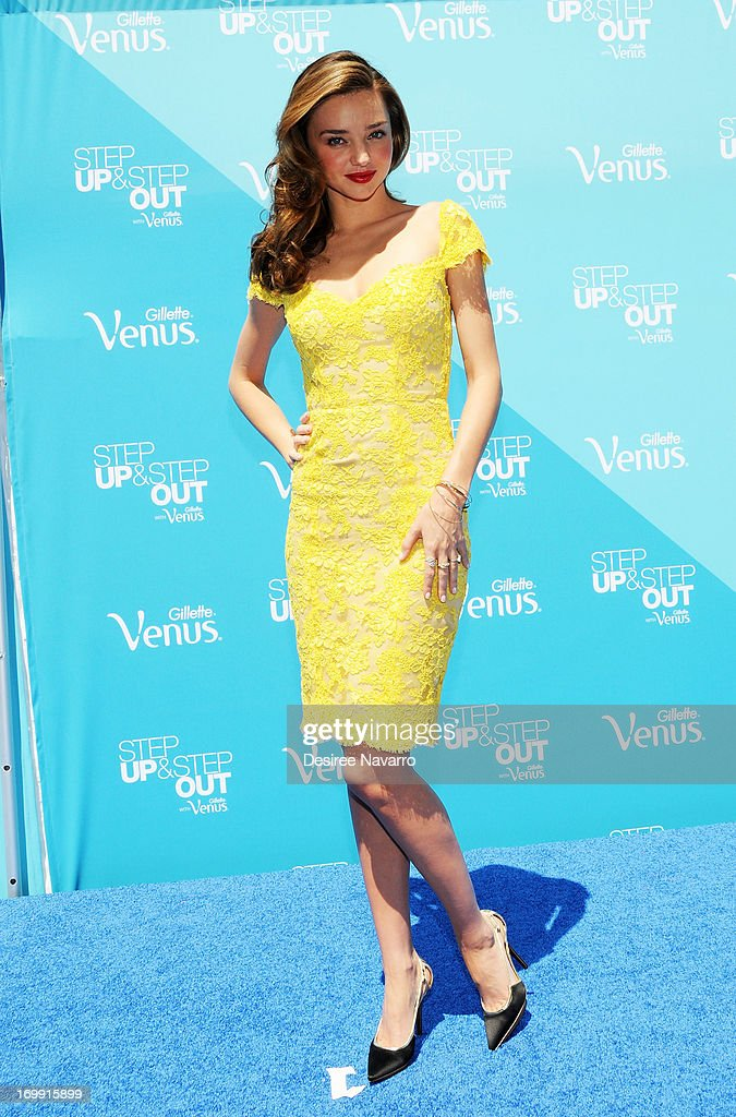 Model Miranda Kerr attends The Gillette Venus Step Up & Step Out Summer Tour Kick Off at Pedestrian Plaza in Times Square on June 4, 2013 in New York City.
