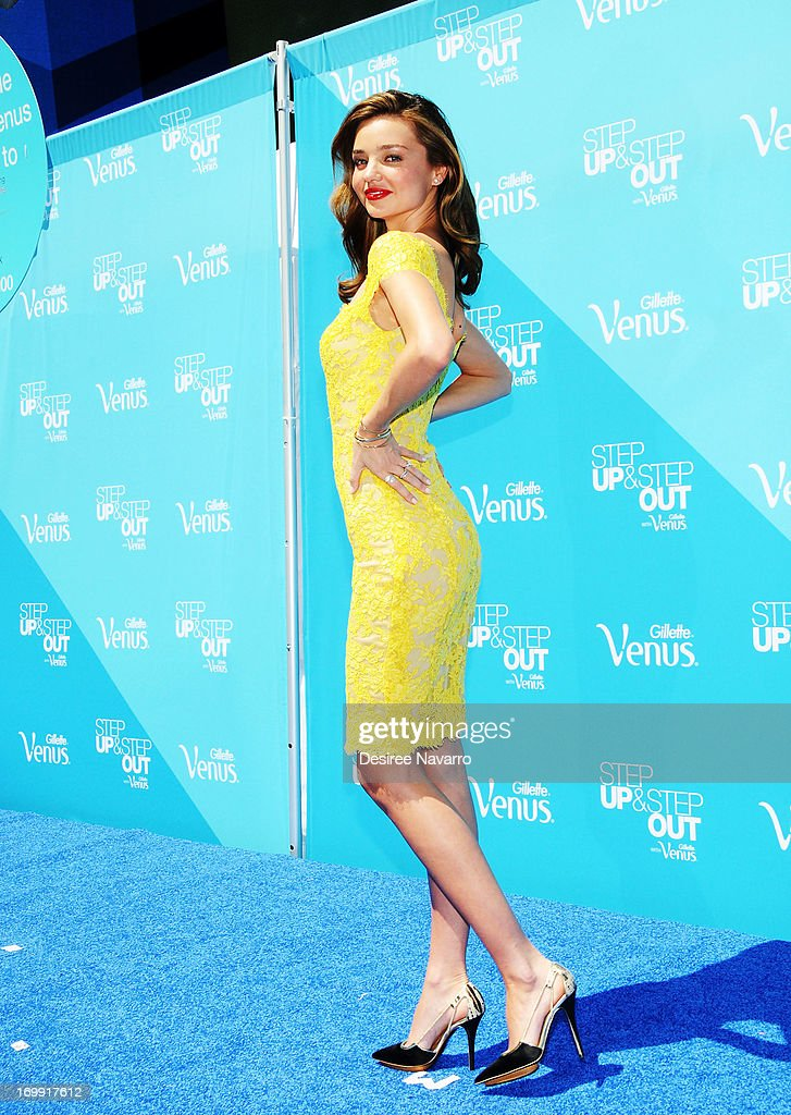 Model <a gi-track='captionPersonalityLinkClicked' href=/galleries/search?phrase=Miranda+Kerr&family=editorial&specificpeople=5714330 ng-click='$event.stopPropagation()'>Miranda Kerr</a> attends The Gillette Venus Step Up & Step Out Summer Tour Kick Off at Pedestrian Plaza in Times Square on June 4, 2013 in New York City.