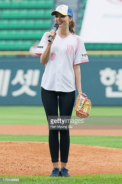 Model Miranda Kerr attends the KBO Championship match between Doosan Bears and SK Wyverns at Jamsil Baseball Stadium on June 13 2013 in Seoul South...