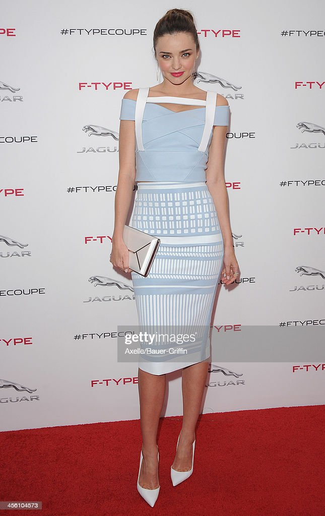 Model <a gi-track='captionPersonalityLinkClicked' href=/galleries/search?phrase=Miranda+Kerr&family=editorial&specificpeople=5714330 ng-click='$event.stopPropagation()'>Miranda Kerr</a> attends the launch party for the Jaguar F-TYPE Coupe at Raleigh Studios on November 19, 2013 in Playa Vista, California.