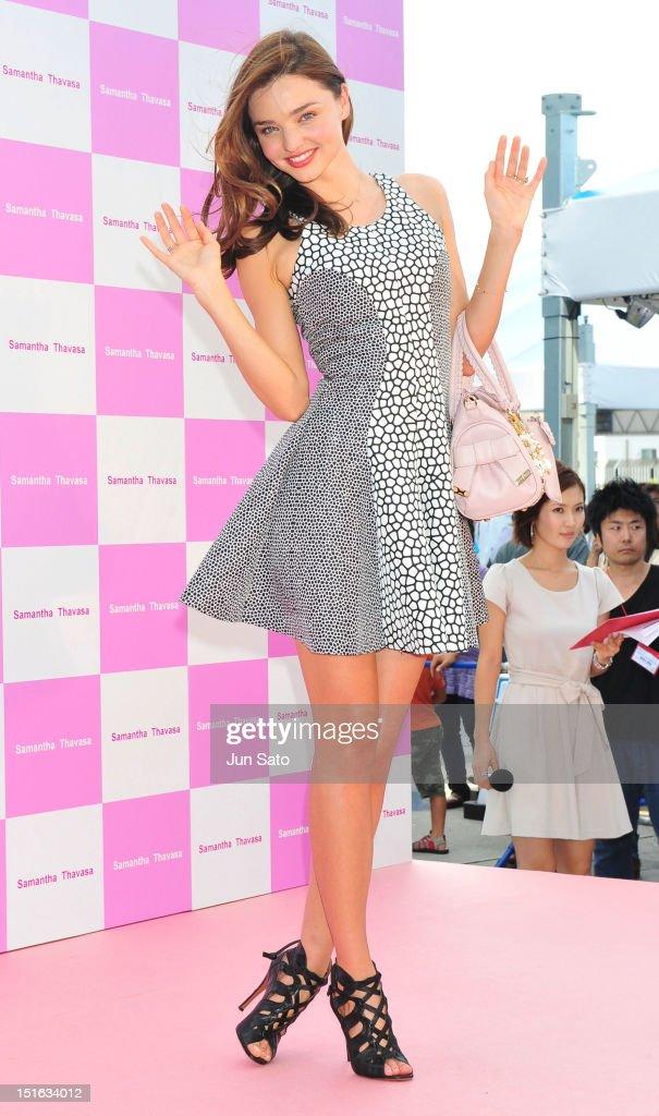 Model Miranda Kerr attends the promotional event of Samantha Thavasa handbags at Tokyo Skytree on September 9 2012 in Tokyo Japan