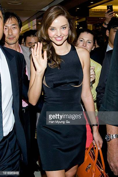 Model Miranda Kerr attends the promotional event of Samantha Thavasa handbags at Lotte Department Store on September 10 2012 in Seoul South Korea