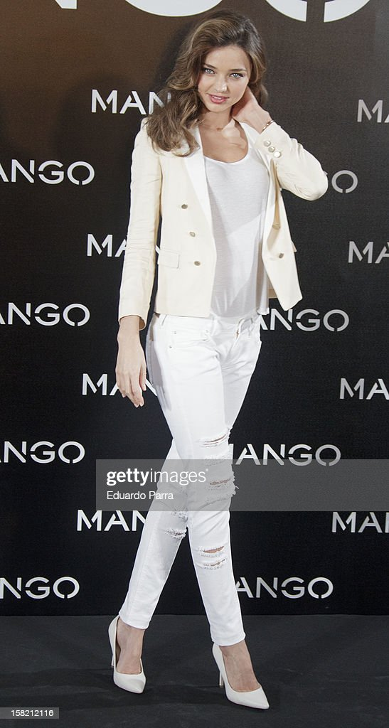 Model <a gi-track='captionPersonalityLinkClicked' href=/galleries/search?phrase=Miranda+Kerr&family=editorial&specificpeople=5714330 ng-click='$event.stopPropagation()'>Miranda Kerr</a> is announced as the new Face of Mango at the Villamagna Hotel on December 11, 2012 in Madrid, Spain.